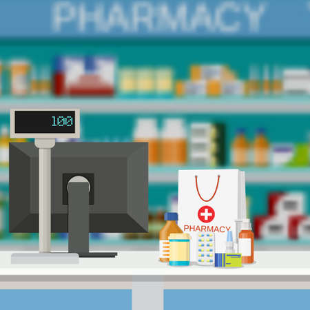 liquids: Modern interior pharmacy and drugstore. paper packet with medicine pills bottles liquids and capsules. vector illustration in flat style.