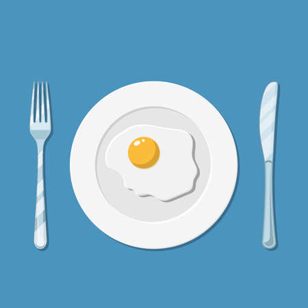 Plate with fried egg icon Illustration