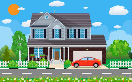 Private suburban house with car,