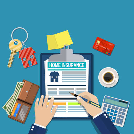 insure: home insurance form concept. house keys, house, calculator,clipboard and money. Man signs a legal document house insurance. Vector illustration in flat style.
