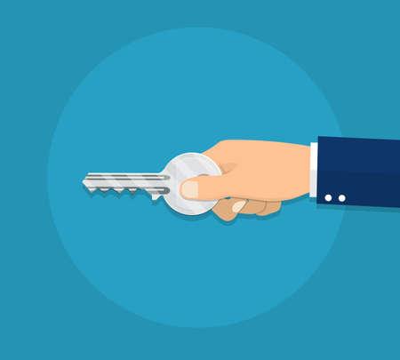 Human hand with key