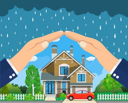 warranty: Home insurance concept. Illustration