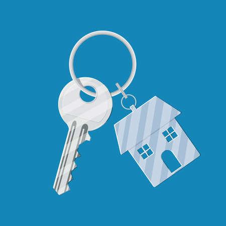 Metal key with keychain house