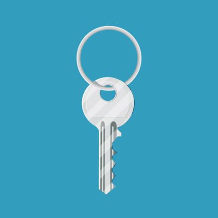 Metal key with ring
