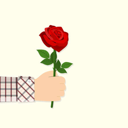 Man holding in hand red rose.
