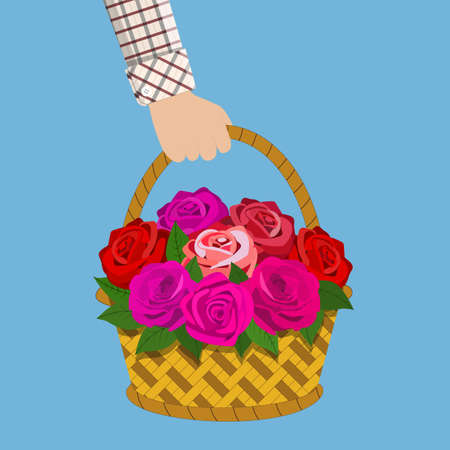 Bouquet of roses in the basket