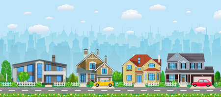 Private suburban houses with car, Illustration