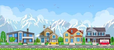 Small village landscape. Ilustração