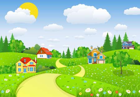 フィールドと丘と田園風景