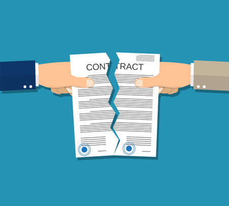 violate: Two hands torn in half contract document. Illustration