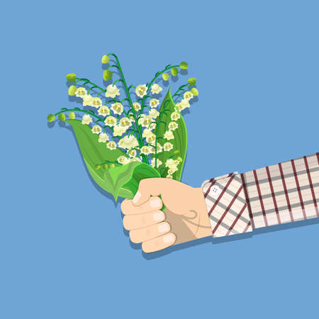 hand holding bouquet Lily Of The Valley Illustration