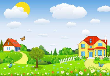 Paisaje rural con campos y colinas con campos y colinas. Paisaje de verano con hermoso pueblo. ilustración vectorial