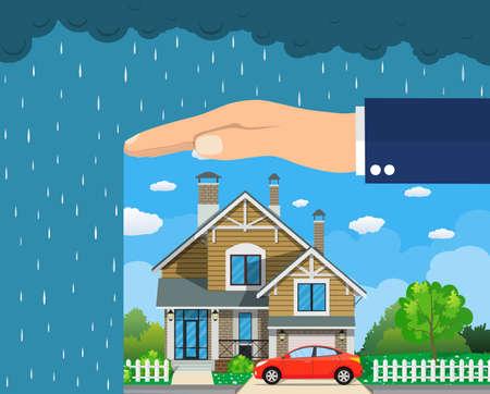 Concetto di assicurazione casa. Mani che proteggono la casa dal pericolo. Affari assicurativi Illustrazione vettoriale in design piatto.