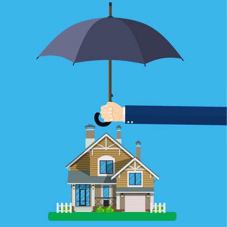 Concepto de seguro de hogar. Las manos sostienen el paraguas sobre la casa y protegen la casa del peligro. Negocio de seguros. Ilustración de vector en diseño plano. Ilustración de vector
