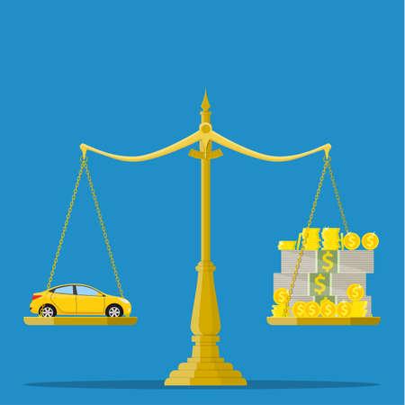 車とお金の尺度。車、価格、市場、投資概念。フラット スタイルのベクトル図