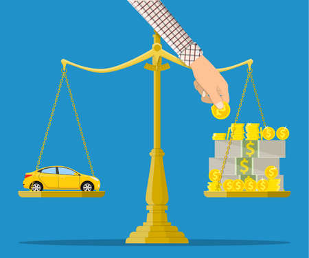 Scales with car and money. Buying a car. Vector illustration in flat style Illustration
