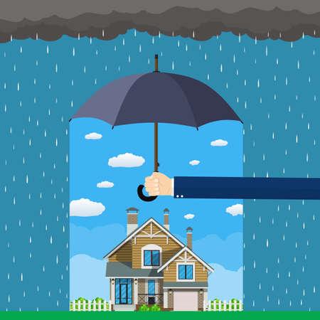 ホーム保険のコンセプト。手は、家や危険から保護家に傘を保持します。保険ビジネス。フラットなデザインのベクトル図です。