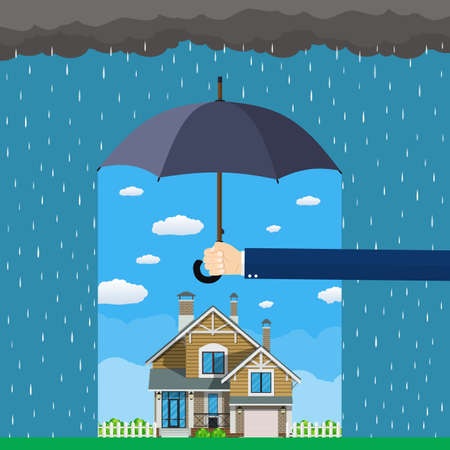 Home insurance concept. Hands hold umbrella over house and protecting house from danger. Insurance business. Vector illustration in flat design. 向量圖像
