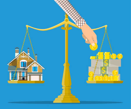 buying a home: Scales with house and money. Buying a home. Real estate. Vector illustration in flat style