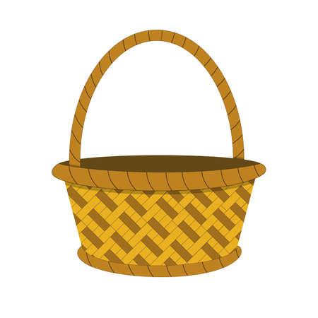 Wicker basket icon, empty wicker basket illustration, vector illustration in flat design . Illustration