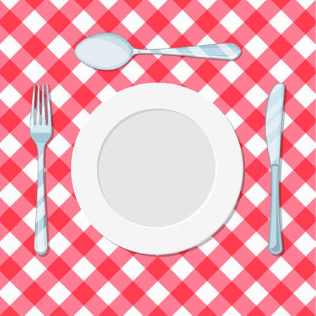 plate knife, spoon and fork on a red tablecloth in a cage. vector illustration in flat style