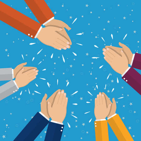Human hands clapping. applaud hands. vector illustration in flat style. Illustration