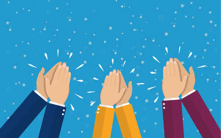 to acclaim: Human hands clapping. applaud hands. vector illustration in flat style. Illustration