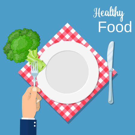 Hand hold a broccoli on a fork. Healthy food concept. Veggie food, eat vitamins. vector illustration in flat style Illustration