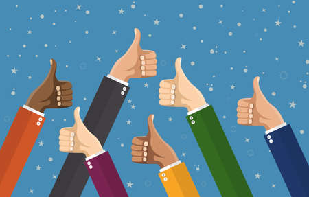 Businessmans hands hold thumbs up. vector illustration in flat design. Financials, work motivation Illustration
