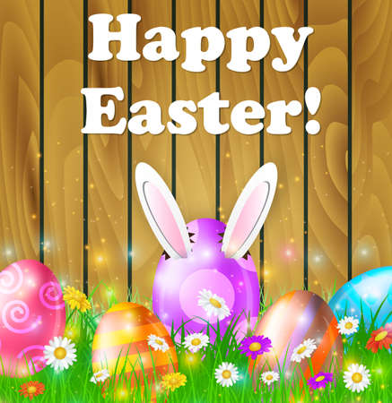 Easter eggs in grass on brown wooden background with flowers Happy Easter, Rabbit ears sticking out of the egg. Vector illustration
