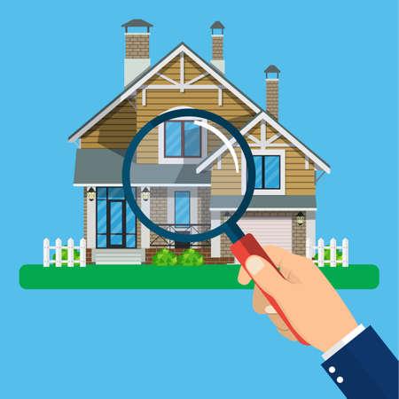 Lupa con casa. Concepto inmobiliario. Buscar icono de vector de inicio. Ilustración vectorial en estilo plano Ilustración de vector