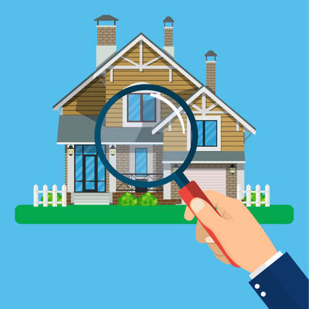 Magnifying glass with house. Real estate concept. Search for home vector icon. Vector illustration in flat style