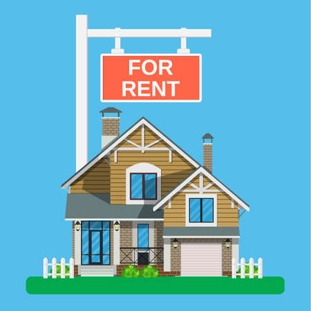 Home for rent icon. Real Estate concept, template for sales, rental, advertising. Vector illustration in flat style