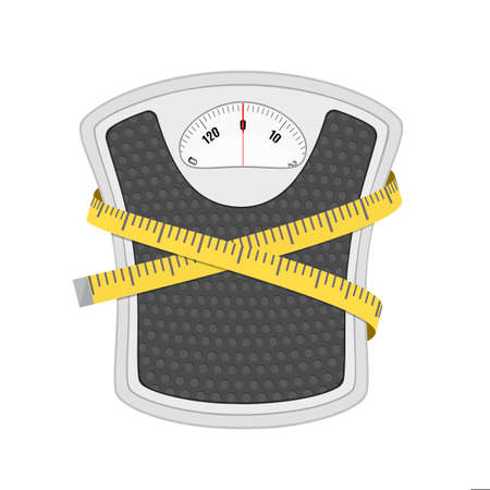 Bathroom floor weight scale and measuring tape. illustration in flat style on white background. Illustration