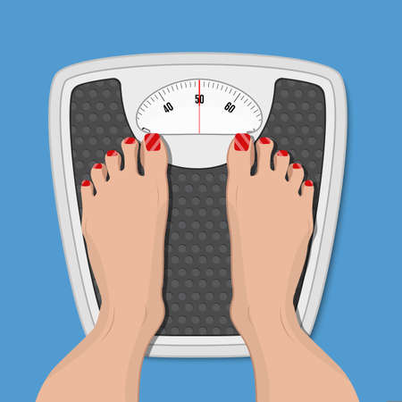 woman weighed on floor scales, vector illustration in flat style
