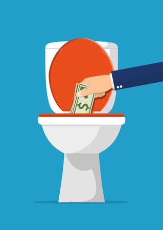 Zakenmanhand die dollarrekeningen in toilet zetten. Geld verliezen. Vectorillustratie in vlakke stijl Vector Illustratie