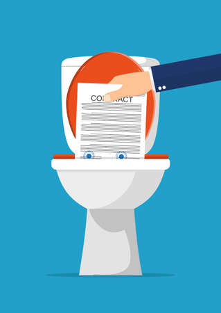 disagree: Businessman hand putting contract papers in toilet. Contract termination. Vector illustration in flat style