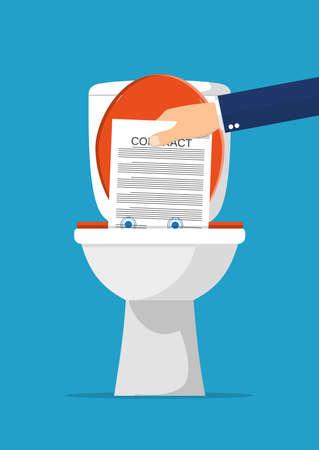 Geschäftsmann Hand Vertrag Papiere in der Toilette setzen. Vertragskündigung. Vektor-Illustration im flachen Stil