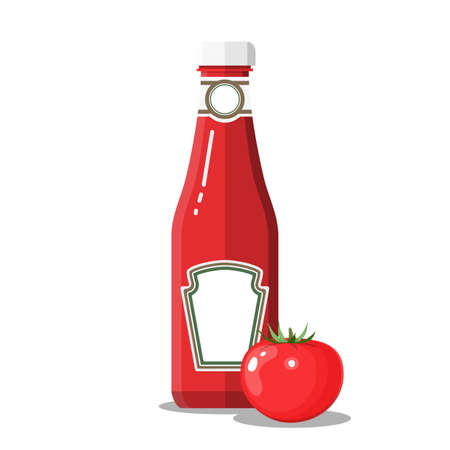 Glass bottle of traditional tomato ketchup. vector illustration in flat style
