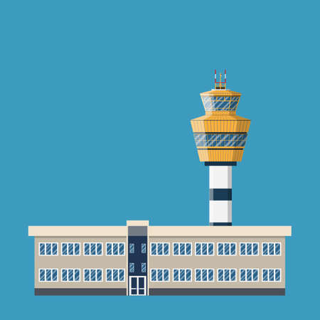 traffic controller: airport control tower and terminal building. vector illustration in flat design on green background