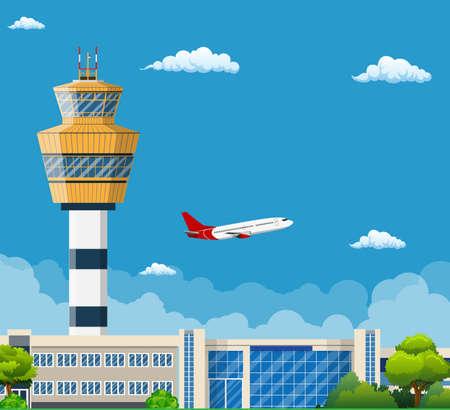 コントロール タワー、旅行と観光の概念、旅行観光概念と空港ターミナル