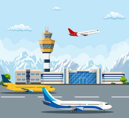 空港の建物や滑走路に飛行機。コントロール タワーと山、旅行や観光のコンセプトの背景に飛行機