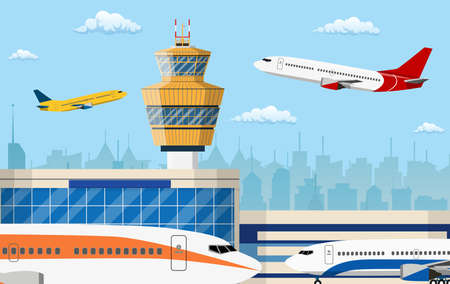 airport control tower and flying civil airplane after take off in blue sky with clouds and city skyline silhouette. Vector illustration in flat design Stock Illustratie