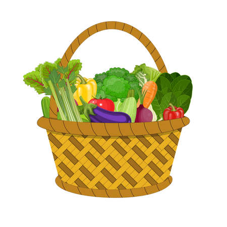 Full basket with different healthy food. Supermarket shopping basket with vegetables . vector illustration in flat style.