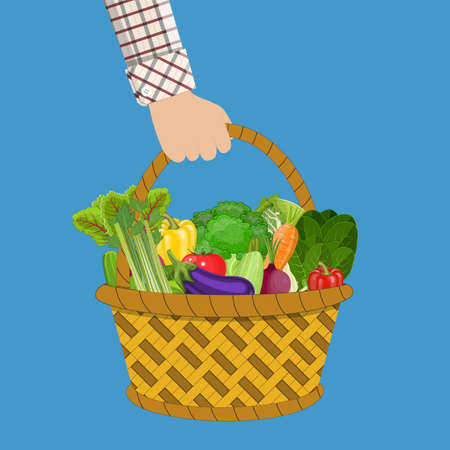 chinese food container: Red plastic shopping basket full of different healthy food. in hand. Grocery store. vector illustration in flat style