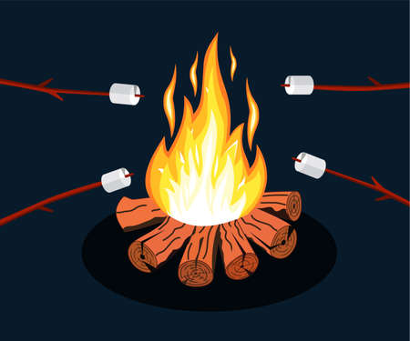 Bonfire with marshmallow. Logs and fire. Camping, burning woodpile in night. Vector illustration in flat style Stock Illustratie