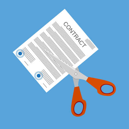 Scissors cutting contract document. Contract termination concept. Vector illustration in flat style
