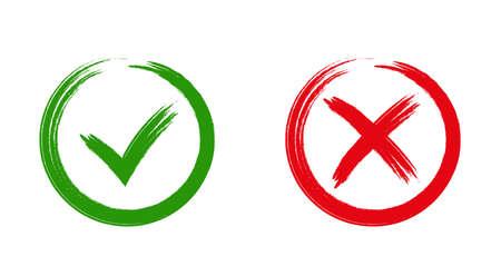 Señal y cruz signos. OK marca verde y rojo iconos X, aisladas sobre fondo blanco. marcas simples de diseño gráfico. símbolos sí y no el botón de votación la decisión, web. ilustración vectorial