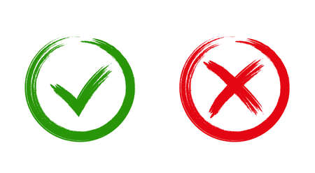 validation: Tick and cross signs. Green checkmark OK and red X icons, isolated on white background. Simple marks graphic design. symbols YES and NO button for vote, decision, web. Vector illustration
