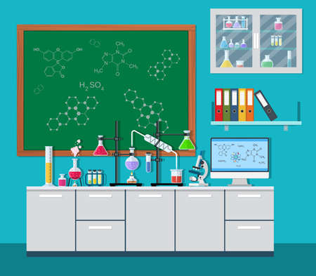 computer scientist: Laboratory equipment, jars, beakers, flasks, microscope, scales, spirit lamp on table. Computer, shelf with books. Agenda board. Biology science education medical vector illustration in flat style